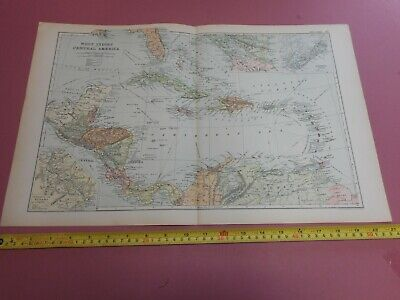 100% ORIGINAL LARGE WEST INDIES CENTRAL AMERICA MAP  BY G  BACON C1912 VGC
