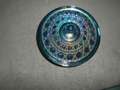 COVERED CANDY DISH-BLUE CARNIVAL GLASS-BUTTON PATTERN