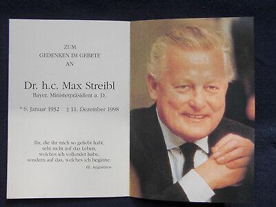 "Original Sterbebild - Sterbebildchen ""Dr. h.c. Max Streibl"""