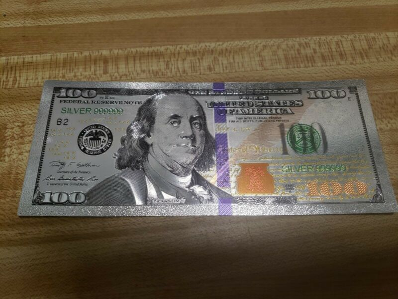 Beautiful Silver Foil $100 Bill, No Cash Value. Intended For Collectors Only!