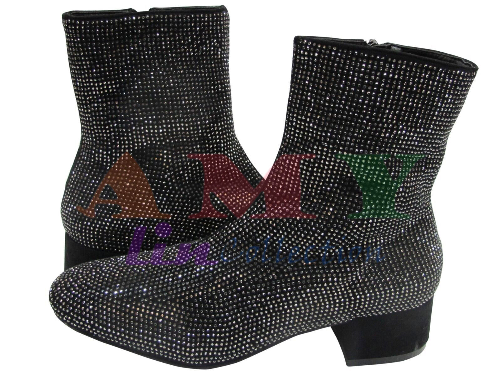 Black Ankle Boots/Booties Casual Faux Leather Rhinestone Syn