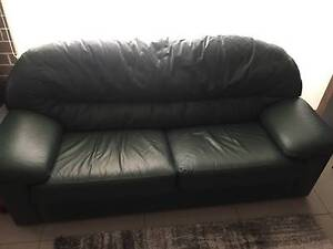 Leather 2 Seater Sofa - Green McGraths Hill Hawkesbury Area Preview