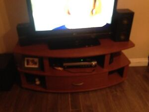Tv stand, subwoofer speakers and receiver $80 obo