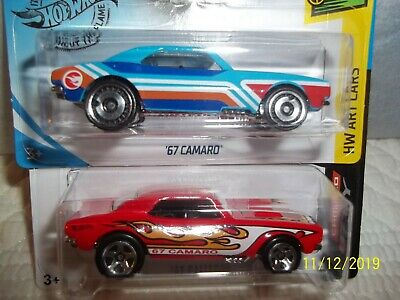 2 Hot Wheels: 1967 Chevrolet Camaros 2019 Treasure Hunt and 2017 Mainline cars