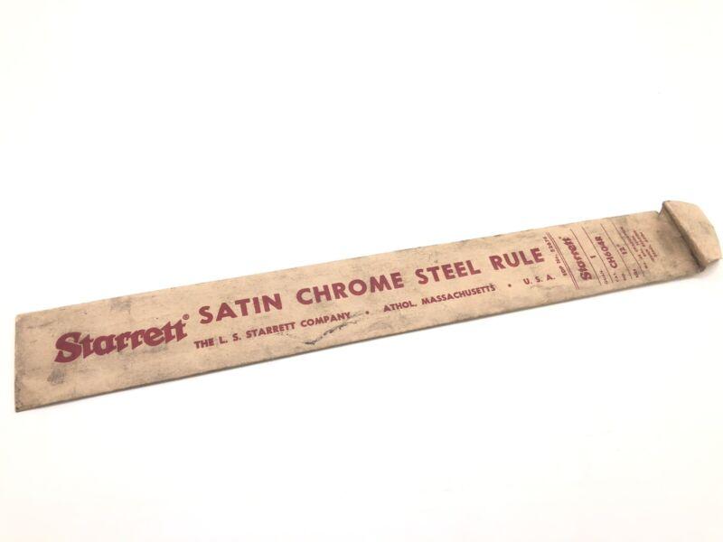 "Vintage Starrett 12"" Satin Chrome Steel Rule Original Paper Sleeve (SLEEVE ONLY)"