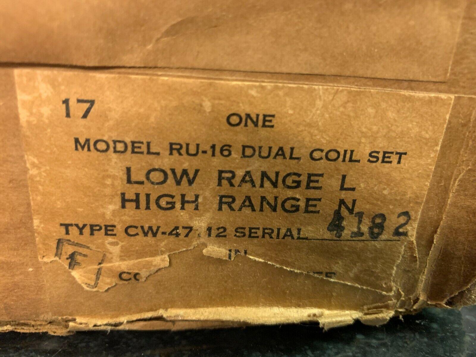 NOS RU-16 Dual Band Low Range L High Range N Coil Set For RU- Series Receivers - $9.95