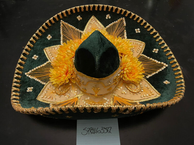 "Pigalle Mexican Sombrero Hat Green and Yellow/Gold Velvet 23"" RARE!!!"
