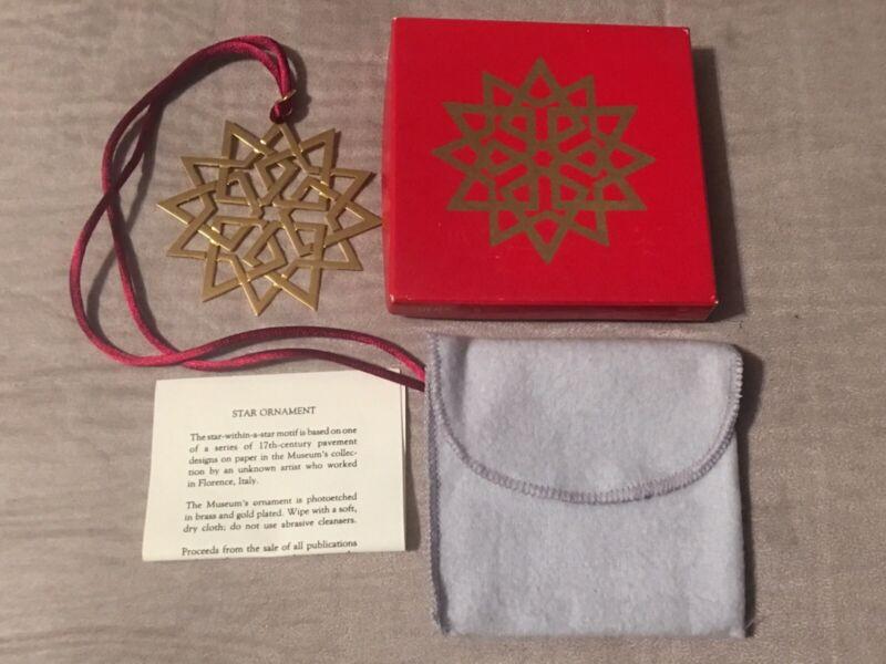 MMA Metropolitan Museum of Art 1993 Gold Tone Brass Star Ornament Christmas