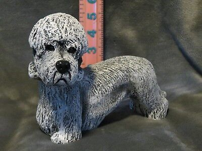 DANDIE DINMONT TERRIER PLASTER DOG STATUE HAND CAST AND PAINTED BY T.C. SCHOCH