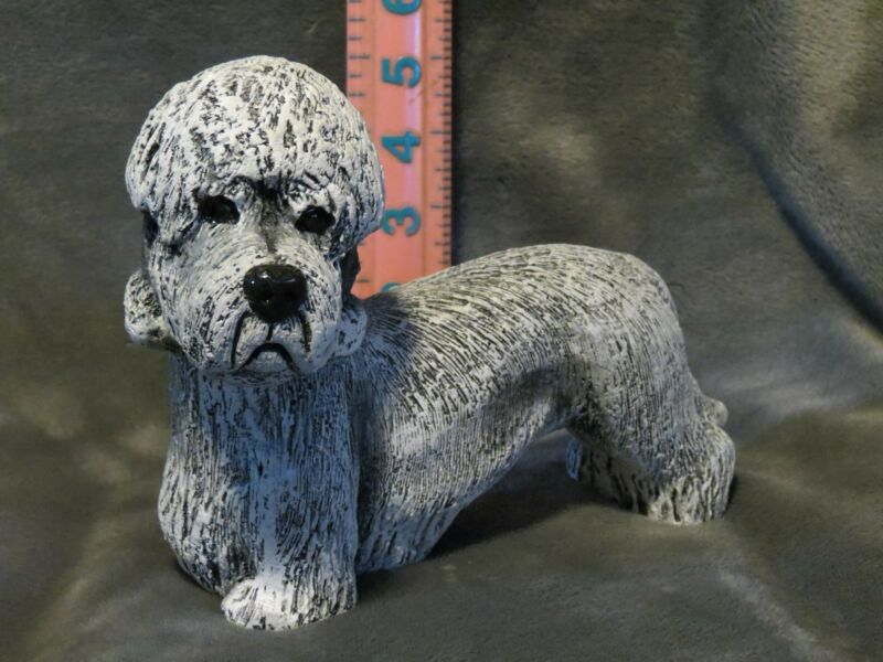 DANDIE DINMONT TERRIER PLASTER DOG STATUE HAND CAST AND PAINTED BY T.C. SCHOCH