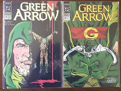 "Green Arrow #33 & 34  (DC 1990)  ""Dinah & Oliver""  Black Canary  Grell   VF"
