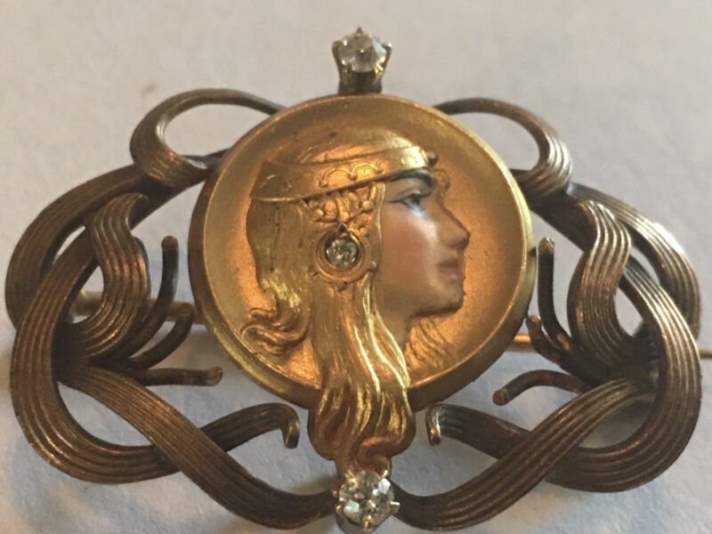 Antique Art Nouveau 14K Gold Enamel Byzantine Woman Watch Pin Brooch Diamonds