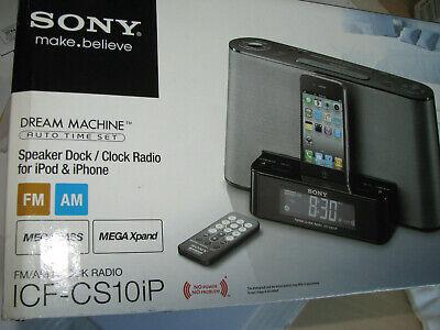 SONY ICF-CS10iP Black Dream Machine Speaker Dock AM FM Clock Radio w Remote