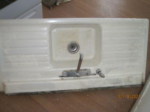 Vintage Cast Iron Farm Style Kitchen Sink w/ Double Drainboards