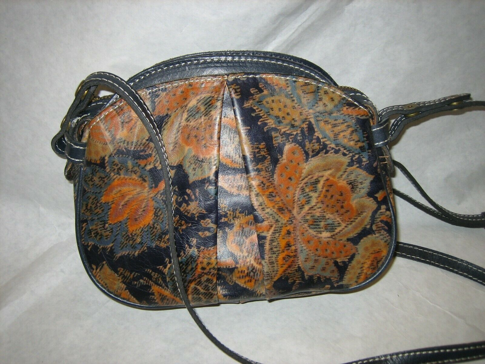 PATRICIA NASH Leather Crossbody Floral Blue Brown Purse - $39.99
