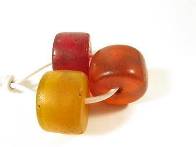 Alte böhmische Glasperlen Amber Imitation Old Bohemian Glass Trade beads Afrozip