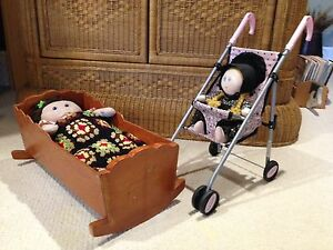 Doll Stroller and Vintage Pine Doll Cradle