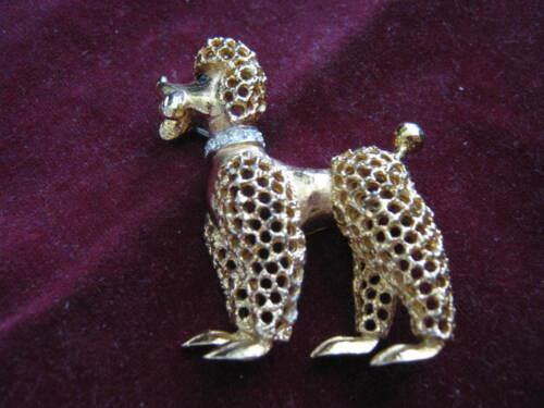 POODLE w/ JACKET & PANTS CLIP, 1960s JOMAZ Gold Pin, J. Mazer, Rhinestone Collar