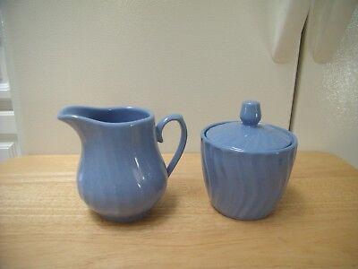 Royal Norfolk Country Blue Swirl Milk Pitcher Creamer Sugar Bowl w Lid Set - EXC