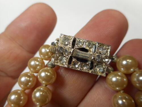 "Art Deco Rhinestone 2 Strand Old Japan Glass Faux Pearl 7 1/4"" BRACELET 1930s"