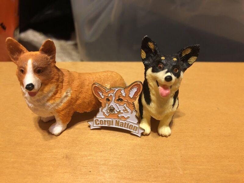 Set Of 2 Pembroke Welsh Corgi Dog Figures & Corgi Nation Enamel Pin