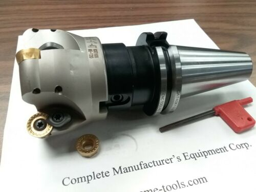 "3"" face mill R200, w. 4 Sandvik RCKT1606 Round inserts CAT40 arbor #506-RCKT16-3"