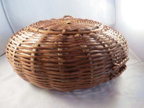 Vintage  Bamboo Splint Round Poof Disc  Basket w Lid.