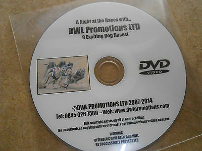 GREYHOUND RACING DVD - 9 DOG RACES ON THIS DVD - 8 RUNNERS IN EACH RACE