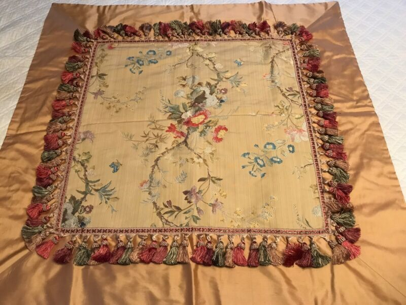 FAB! VTG French Floral Silk Tapestry with Multi Color Fringes Trim Table Topper