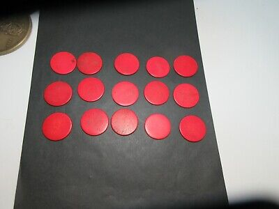 15 x ANTIQUE RED BONE GAMING COUNTERS; USEFUL FOR INLAY REPAIRS ETC 32 X 1.5 MM