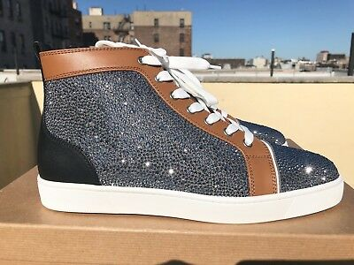 Mens Christian Louboutin Louis Saffiano Tan Strass Sneakers Size 42 ($3295) CYBE