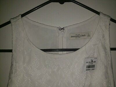 NWT Abercrombie & Fitch White Sleeveless Women's Summer Dress Size (Large)