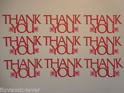 "12 ""Thank You"" phrase die cuts 1 1/2"" x 3 1/4"" greeting card die cut"