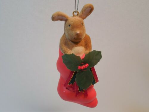 1999 Rabbit Ears Productions Ornament ~ Bunny Rabbit In Christmas Stocking