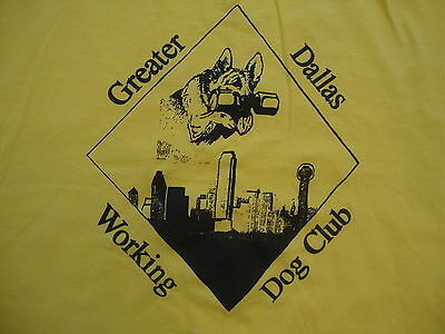 Greater Dallas Working Dog Club Dog Training Program Souvenir Yellow T Shirt XL