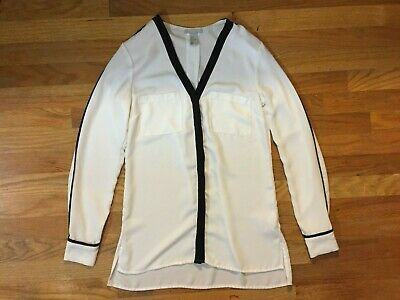Women's H&M Size 4 White & Black Chiffon Blouse Tunic