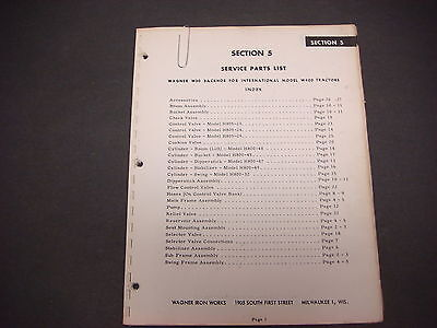 Wagner Iron Workstractor Equipmentservice Parts Listsection 5w400 Tractors