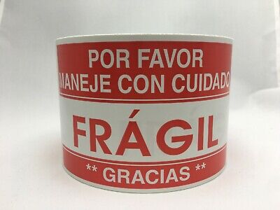 Spanish Fragil Maneje Shipping Fragile Caution Stickers 3x5100 Labels
