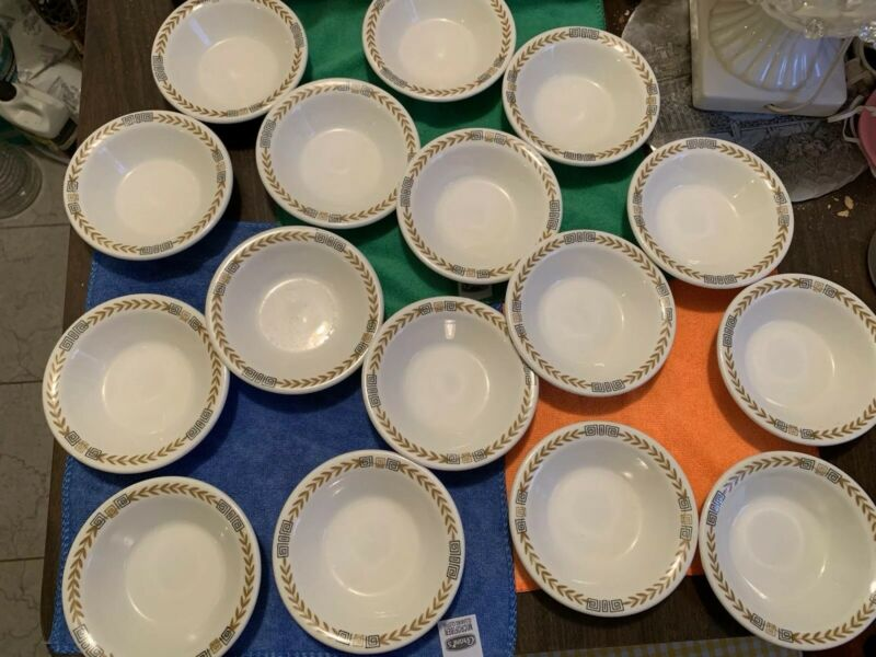 "Vintage Lot Of 8 Shenango China White Greek Key Laurel Set Fruit Bowls 4 & 3/4"""
