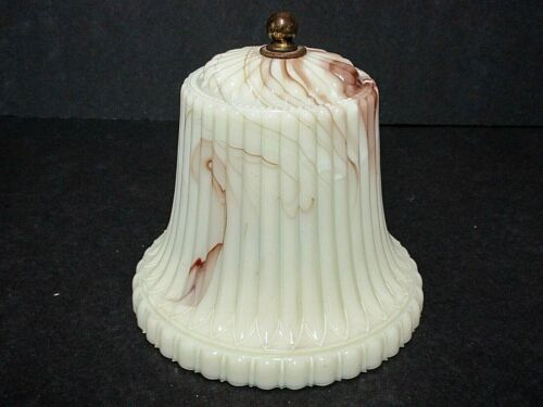 Rarely Seen  Akro Agate Glass Lamp Shade with Bruise