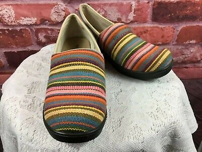 Duck Head Women's Multicolor Striped Tapestry/Leather Clogs Size 7.5