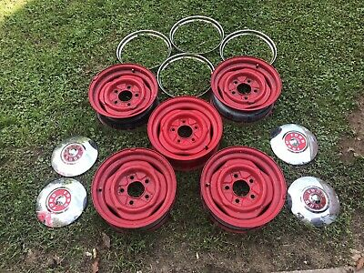 Set Of Five Vintage Ford 15-inch Steel Truck Rims With Caps And Rings