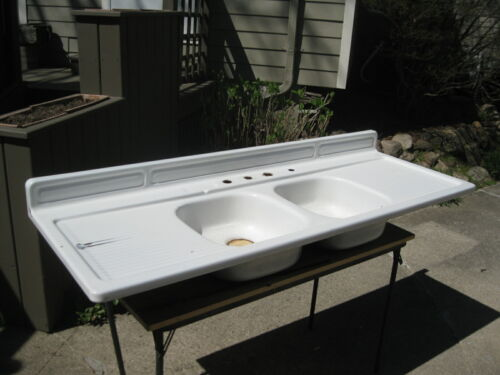 "Vintage Steel White Porcelain Double Basin Double Drainboard Farm Sink 66 x 24"""