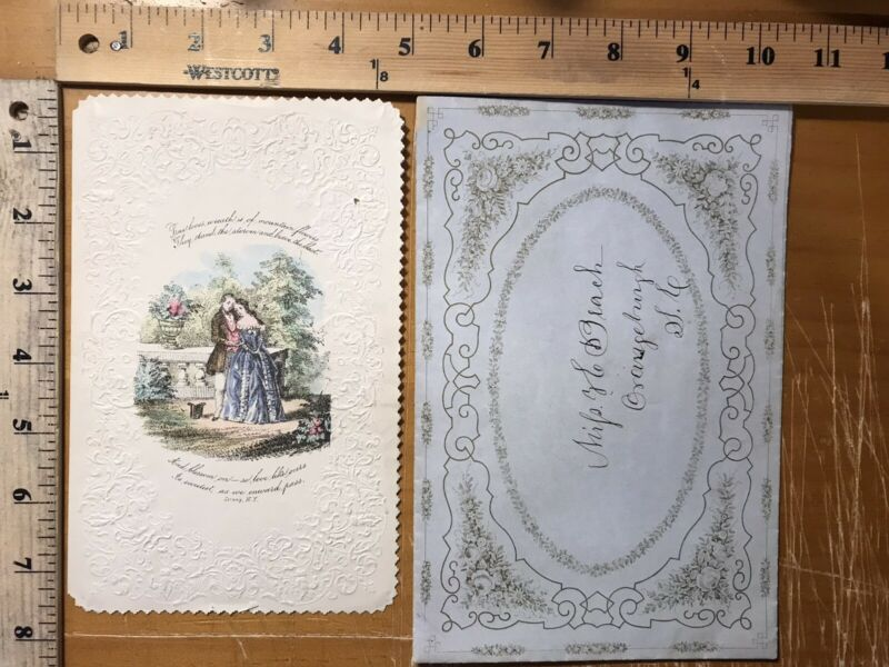 Antique greeting card strong New York hand colored love card and envelope