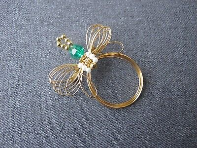 Vintage plastic & pearly beads golden metal wired bee pin