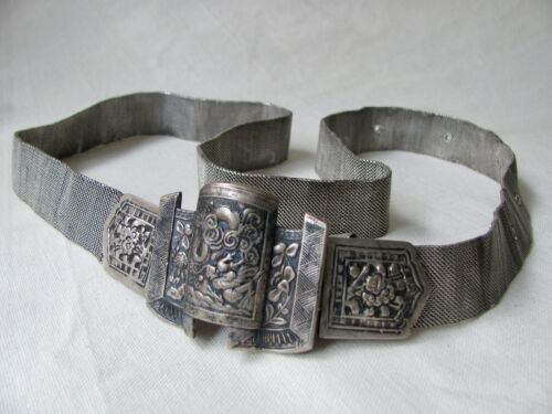 Antique Chinese Peranakan / Nyonya Baba Silver Belt with Buckle