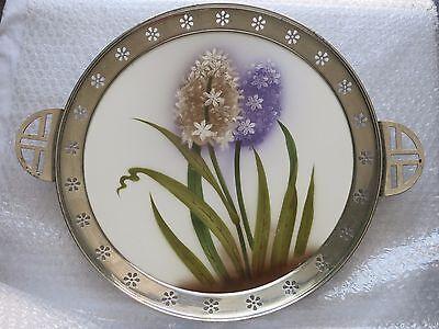 Jugendstil Tortenplatte mit tollen Blumendekor - Spritzdekor - Metallmontierung