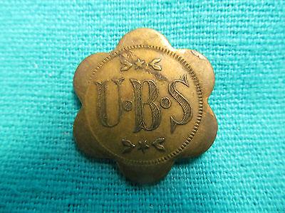 UMBRIA BO SO U-B-S COAL MINE BRASS SCRIP TOKEN WITH SHOVEL 1880's-1920's W VA