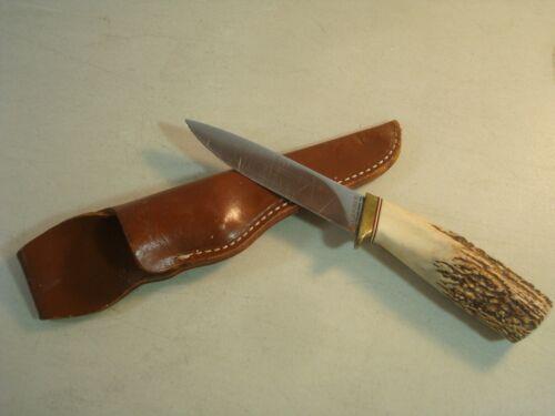 GERBER Rare Custom STAG HANDLE Hunting Knife C475 w/Sheath