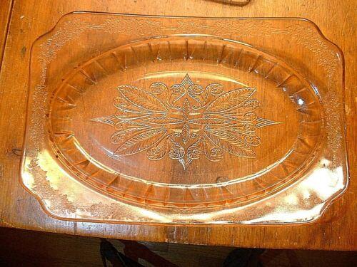 "Elegant Vintage Jeannette Pink Rectangular 11 5/8"" Platter In The Adam Pattern"
